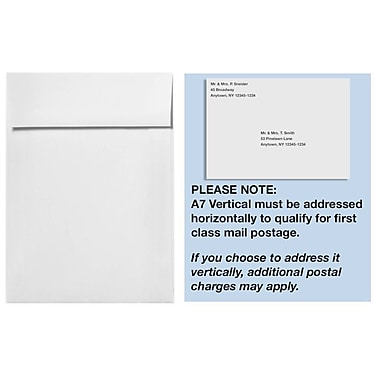 LUX A7 Vertical Invitation Envelopes (7 1/4 x 5 1/4) 250/Box, Natural White - 100% Cotton (4880V-SN-250)