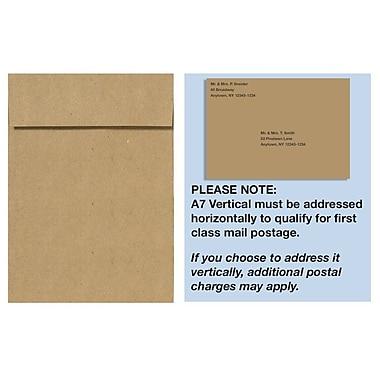 LUX A7 Vertical Invitation Envelopes (7 1/4 x 5 1/4) 500/Box, Grocery Bag (4880V-GB-500)
