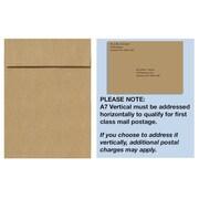 "LUX® 7 1/4"" x 5 1/4"" 80lbs. Square Flap Vertical Envelopes W/Peel & Press, Grocery Bag Brown"