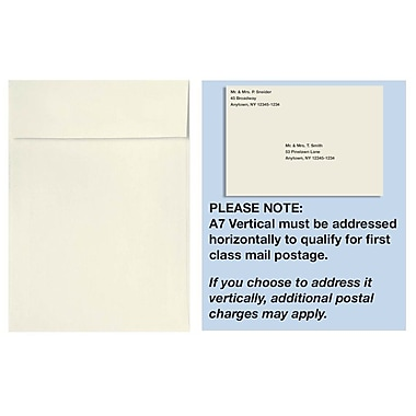 LUX A7 Vertical Invitation Envelopes (7 1/4 x 5 1/4), White, 100% Cotton, 1000/Box (4880V-SW-1000)
