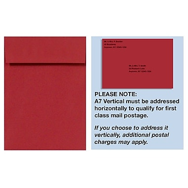 LUX A7 Vertical Invitation Envelopes (7 1/4 x 5 1/4), Ruby Red, 1000/Box (4880V-18-1000)