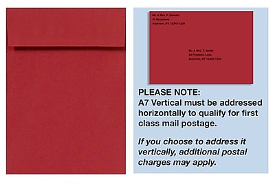 LUX A7 Vertical Invitation Envelopes (7 1/4 x 5 1/4) 1000/Box, Ruby Red (4880V-18-1000)