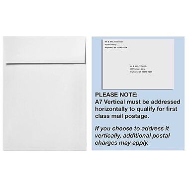LUX A7 Vertical Invitation Envelopes (7 1/4 x 5 1/4) 1000/Box, White - 100% Recycled (4880V-WPC-1000)