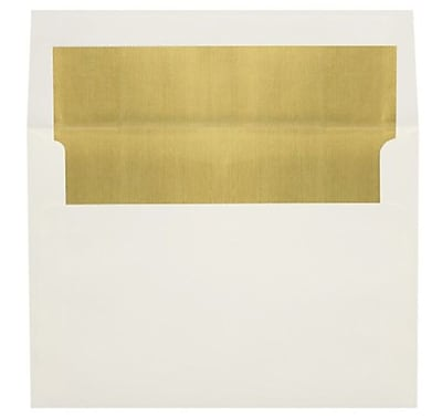 LUX A8 Foil Lined Invitation Envelopes (5 1/2 x 8 1/8) 250/Box, Natural w/Gold LUX Lining (FLNT4885-04-250)
