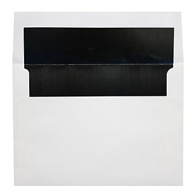 LUX A8 Foil Lined Invitation Envelopes (5 1/2 x 8 1/8), White w/Black LUX Lining, 50/Box (FLWH4885-02-50)