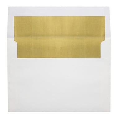 LUX A8 Foil Lined Invitation Envelopes (5 1/2 x 8 1/8) 50/Box, White w/Gold LUX Lining (FLWH4885-04-50)