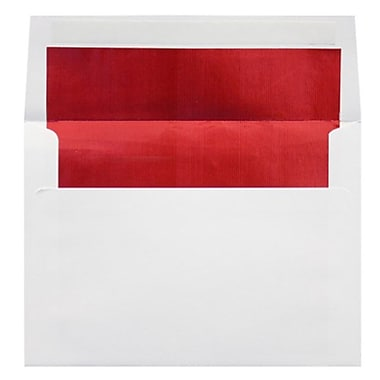 LUX A8 Foil Lined Invitation Envelopes (5 1/2 x 8 1/8), White w/Red LUX Lining, 50/Box (FLWH4885-01-50)