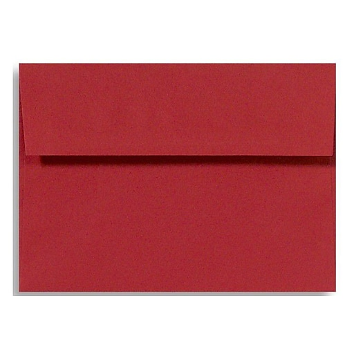 """LUX® 5 3/4"""" x 8 3/4"""" 60lbs. Square Flap Envelopes W/Glue, Holiday Red, 50/Pack"""