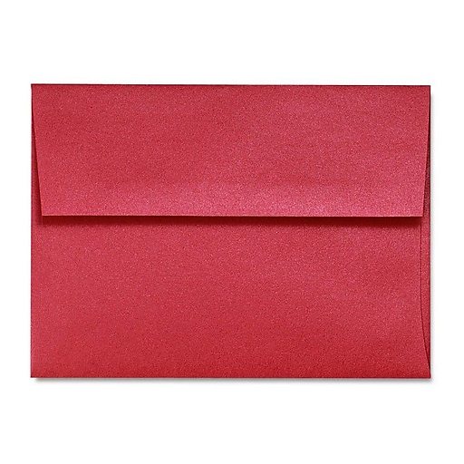 "LUX® 5 3/4"" x 8 3/4"" 80lbs. A9 Invitation Envelopes W/Glue, Jupiter Metallic Red Red, 50/Pack"
