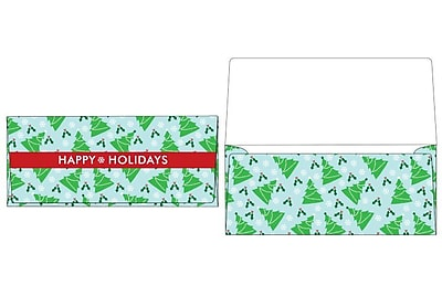 LUX Currency Envelopes (2 7/8 x 6 1/2) 50/Box, Christmas Trees (CUR-97-50)