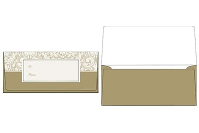 LUX Currency Envelopes (2 7/8 x 6 1/2) 50/Box, Gold Damask (CUR-98-50)
