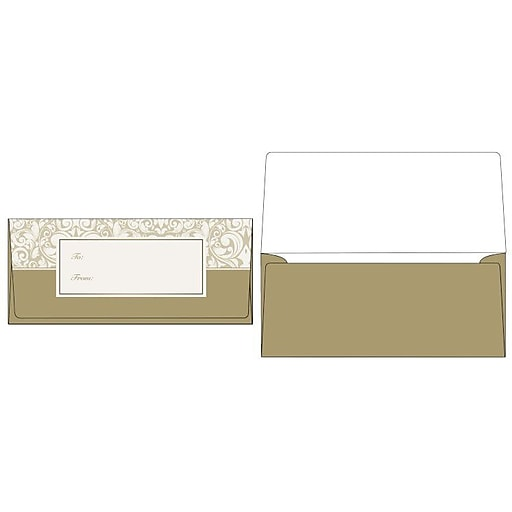 Lux Currency Envelopes 2 7 8 X 6 1 50 Box Gold Damask Cur 98