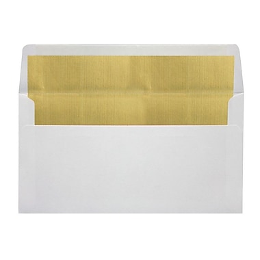 LUX Photo Greeting Foil Lined Invitation Envelopes (4 3/8 x 8 1/4) 50/Box, White w/Gold LUX Lining (FLWHPHGC-04-50)