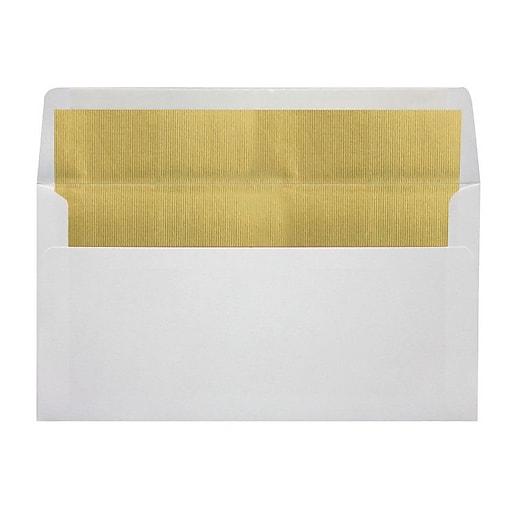 "LUX® 4 3/8"" x 8 1/4"" 60lbs. Photo Greeting Envelopes W/Peel & Press, White/Gold Lining"