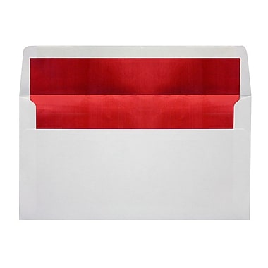 LUX Photo Greeting Foil Lined Invitation Envelopes (4 3/8 x 8 1/4), White w/Red LUX Lining, 50/Box (FLWHPHGC-01-50)