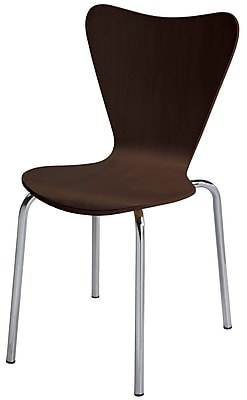 KFI Seating Wood Contemporary Stack Chair With Stain Finish, Espresso