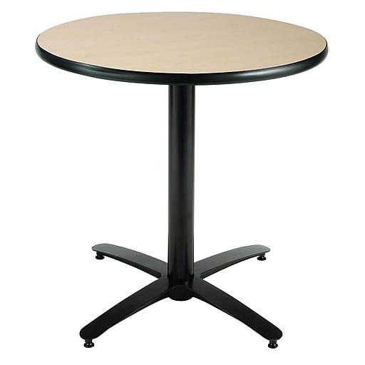"""KFI Seating 29"""" x 42"""" Round HPL Pedestal Table With Arched Base, Natural"""