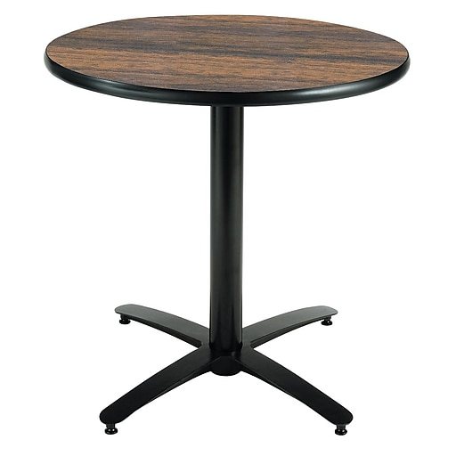 """KFI Seating 29"""" x 30"""" Round HPL Pedestal Table With Black Arched Base, Walnut"""