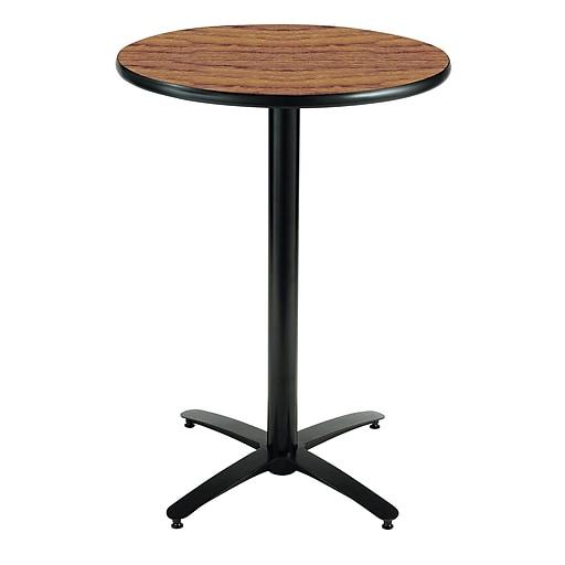 "KFI Seating 38"" x 30"" Round HPL Pedestal Table With Black Arched Base, Medium Oak"