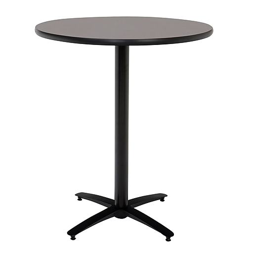 """KFI Seating 38"""" x 42"""" Round HPL Pedestal Table With Arched Base, Graphite Nebula"""