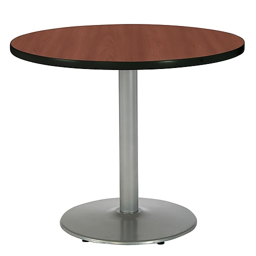 """KFI Seating 29"""" x 36"""" Round HPL Pedestal Table With Silver Base, Mahogany"""