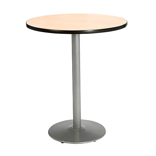 """KFI Seating 38"""" x 30"""" Round HPL Pedestal Table With Silver Base, Natural"""