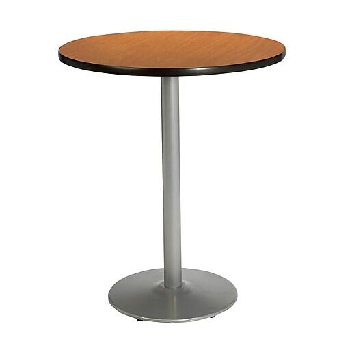 "KFI Seating 38"" x 30"" Round HPL Pedestal Table With Silver Base, Medium Oak"