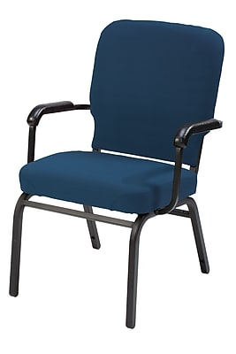 KFI Seating Fabric Arms Stack Chair, Navy