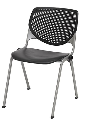 KFI Seating Polypropylene Stack Chair With Perforated Back, Black