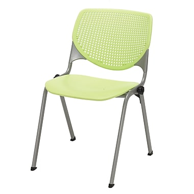 KFI Seating Polypropylene Stack Chair With Perforated Back, Lime Green