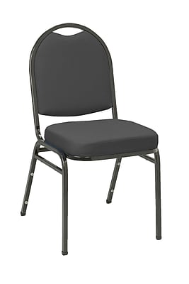 KFI Seating Fabric Stack Chair With Black Frame, Black