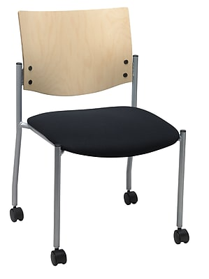 KFI Seating Fabric Armless Guest/Reception Chair Natural Wood Back and Casters, Black