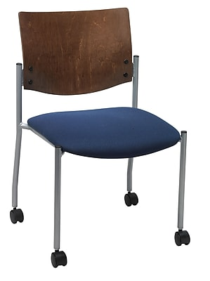 KFI Seating Fabric Armless Guest/Reception Chair With Chocolate Wood Back and Casters, Blue Confetti