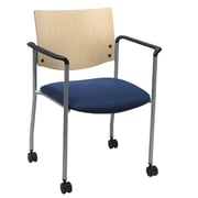KFI Seating Fabric Armed Guest/Reception Chair With Casters, Blue Confetti