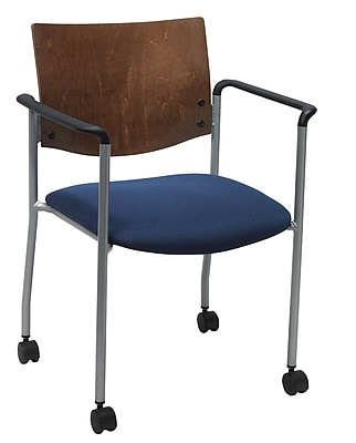 KFI Seating Fabric Armed Guest/Reception Chair With Chocolate Wood Back and Casters, Blue Confetti