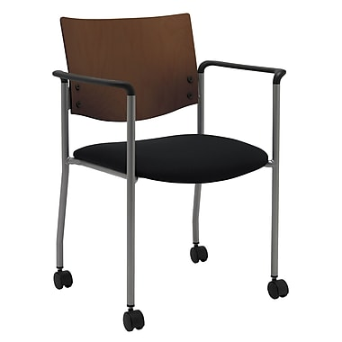 KFI Seating Fabric Armed Guest/Reception Chair With Chocolate Wood Back and Casters, Black