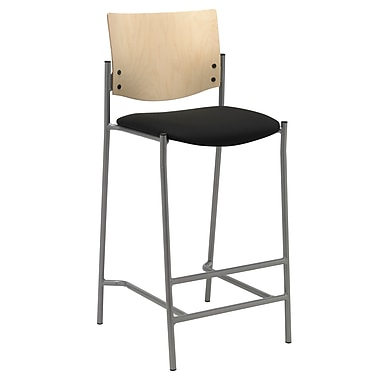 KFI Seating Fabric Barstool With Natural Wood Back, Black