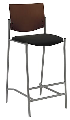 KFI Seating Fabric Barstool With Chocolate Wood Back, Black