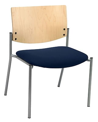KFI Seating Fabric Armless Side/Guest Chair With Natural Wood Back, Navy