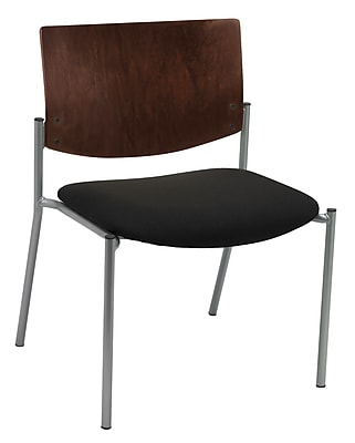 KFI Seating Fabric Armless Side/Guest Chair With Chocolate Wood Back, Black