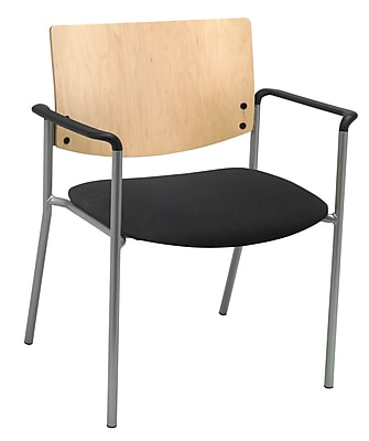 KFI Seating Fabric Arms Side/Guest Chair With Natural Wood Back, Black
