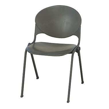KFI Seating Polypropylene Stack Chair With Black Frame, Charcoal