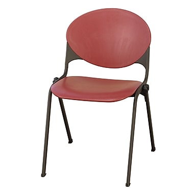 KFI Seating Polypropylene Stack Chair With Black Frame, Burgundy