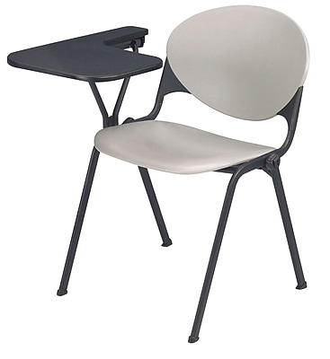 KFI Seating Polypropylene Chair With Left Hand P-Shaped Writing Tablet, Gray