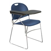 KFI Seating Polypropylene Sled Base Chair With Left Hand P-Shaped Writing Tablet, Navy Blue