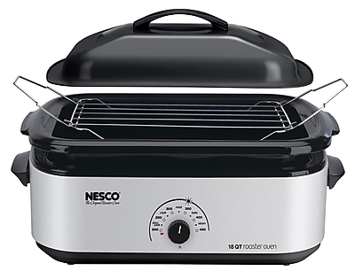 Nesco® 18 Quart Porcelain Cookwell Roaster Oven, Silver