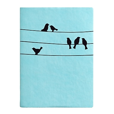 Eccolo™ Faux Leather Birds on a Wire Journal, Light Blue
