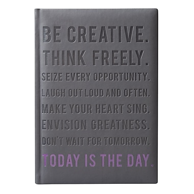 Eccolo™ Italian Faux Leather Today is the Day Lofty Thinking Journal, Gray