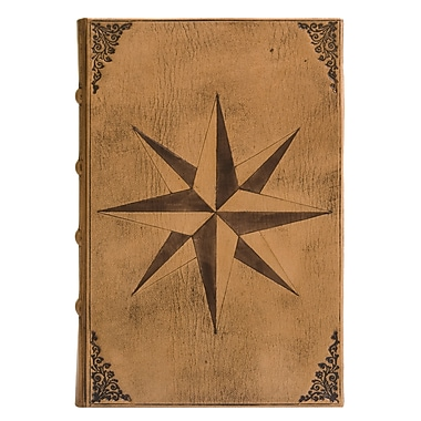 Eccolo™ Italian Leather Compass Rose Journal, Beige
