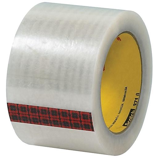 "3M 3"" x 55 yds. x 1.9 mil 371 Carton Sealing Tape,  Clear, 6/Pk"